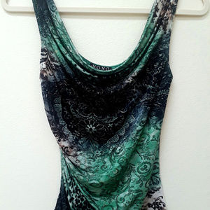 Green Abstract Floral Cowl Tank M